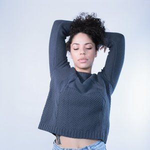 Sweaters - Blue Cable Knit Sweater